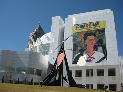 High Museum of Art with signage for Frida and Diego exhibit