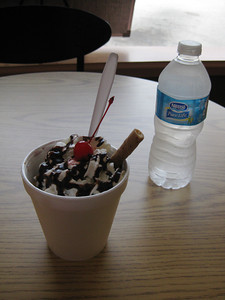 Sundae and water at Creamberry's Ice Cream, Conyers, Georgia