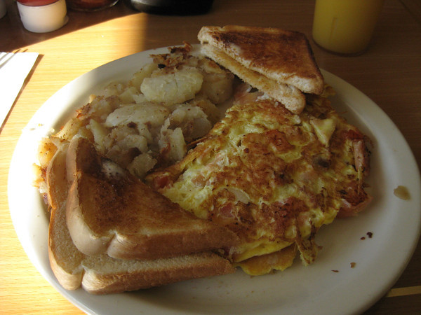 lox omelet with home fries