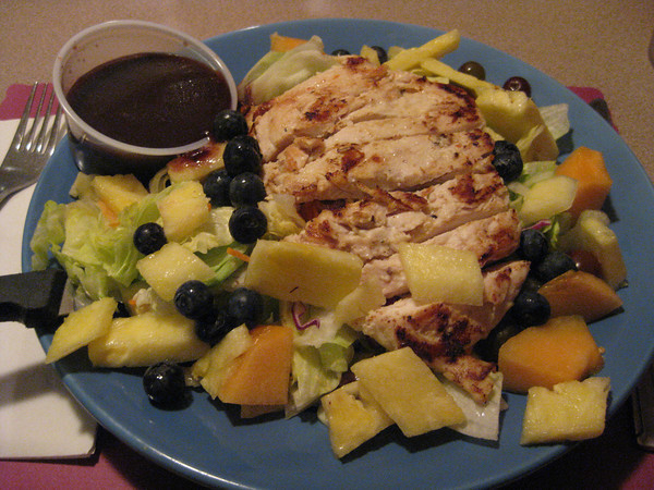 fruit and grilled chicken salad