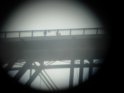 binocular view of converted train bridge