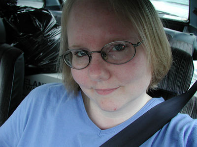 showing off my new haircut in the Chick-Fil-A parking lot