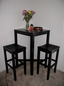 bar table and stools close up